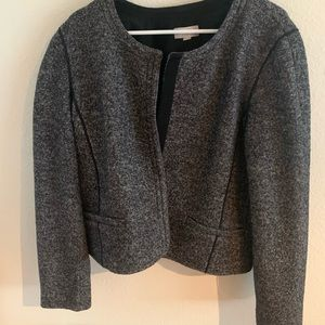 Black and white wool collarless jacket